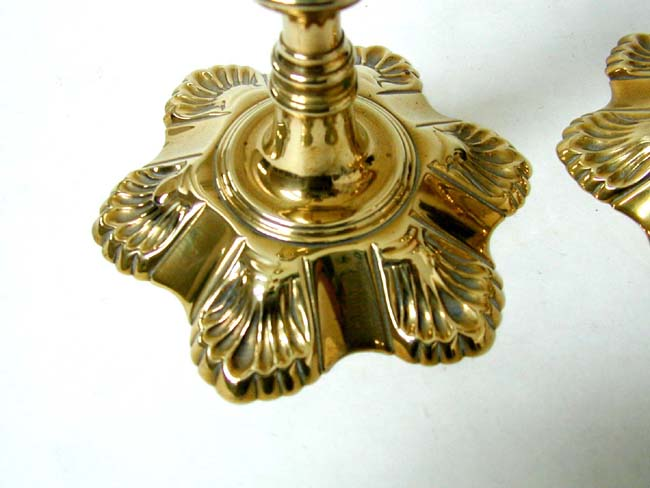 click to view larger image of A Pair of Georgian Petal Base Brass Candlesticks with Removable Bobeches circa 1750