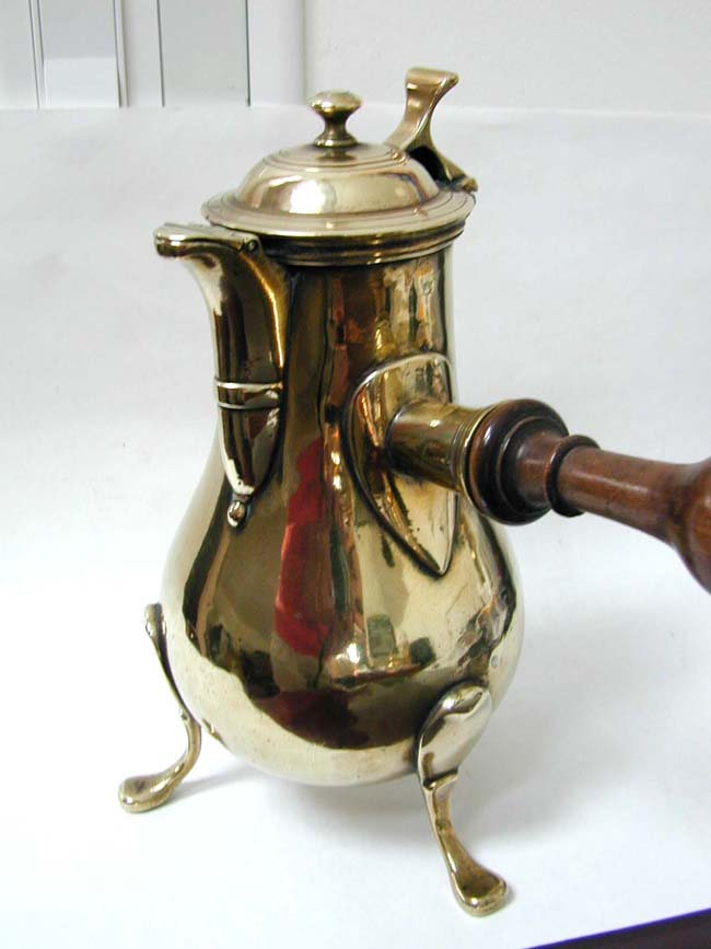 click to view larger image of A Beautiful 18th century French Brass Chocolate Pot with Turned Fruitwood Handle circa 1760