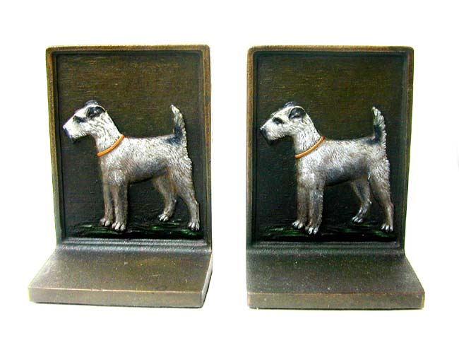 click to view larger image of A Pair of Bradley & Hubbard Antique Bookends Depicting an Airdale circa 1920