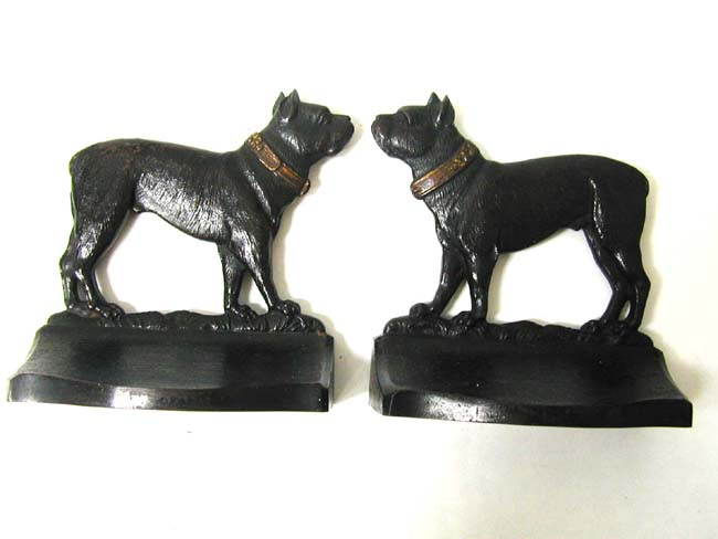 click to view larger image of A Pair of Bradley & Hubbard Antique Bookends Depicting a Bull Dog circa 1920
