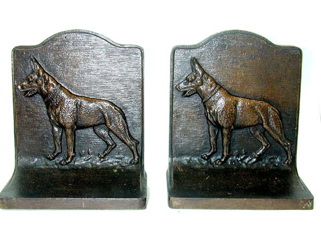click to view larger image of A Pair of Antique Bookends in the form of a German Shepard by Bradley & Hubbard circa 1920