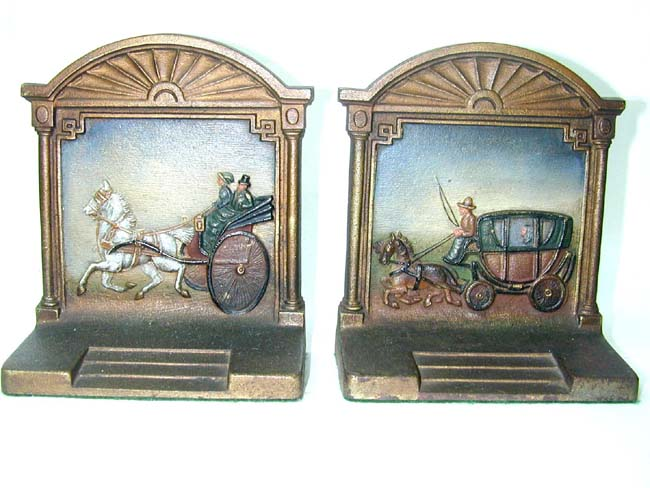 click to view larger image of A Good Pair of Bradley & Hubbard Antique 'Coaching' Bookends circa 1920