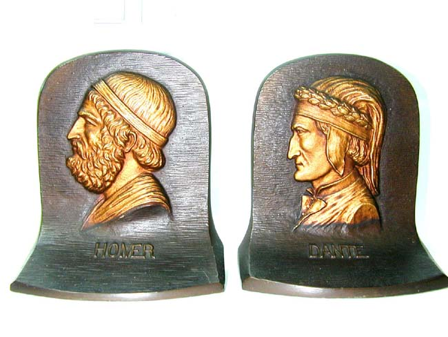 click to view larger image of A Fine Pair of Bradley & Hubbard Antique Bookends Depicting 'DANTE' and
