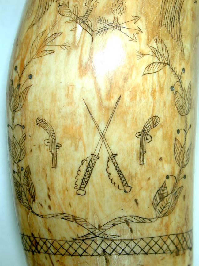 click to view larger image of A Fine 19th Century American Scrimshawed Whale's Tooth With Wonderful Eagle and Shield circa 1850