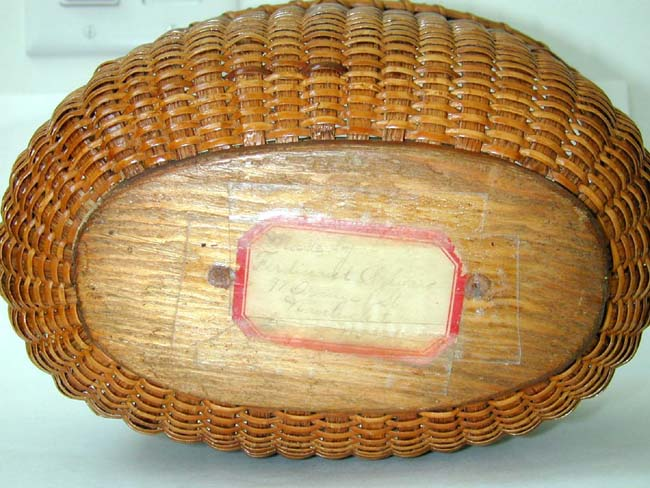 click to view larger image of A Rare Oval Nantucket Basket by Ferdinand Sylvaro circa 1910.