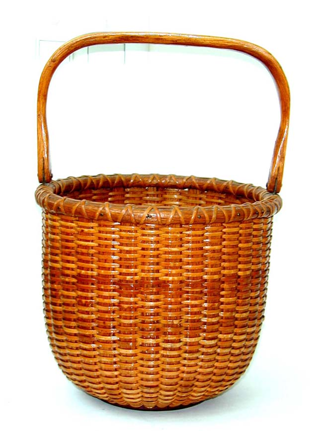 click to view larger image of An Outstanding Nantucket Basket Made by M.W. Sandsbury in 1953