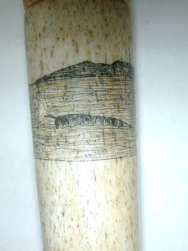 click to view larger image of A Fine 19th century Whalebone Fid with Scrimshawed Whaling Scene