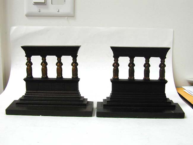 click to view larger image of A Pair of Bradley & Hubbard Antique bookends Depicting a Greek or Roman Temple circa 1910