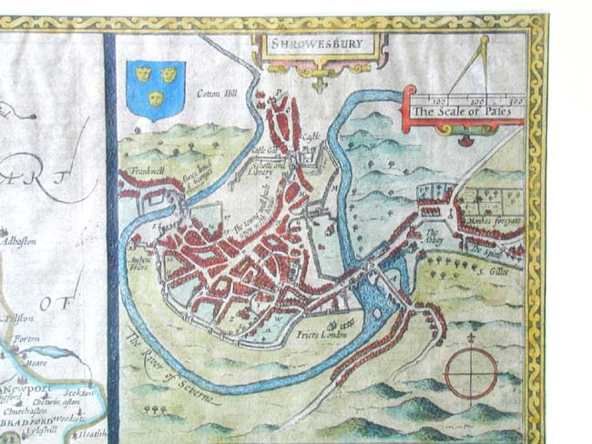 click to view larger image of John Speed's County Map of Shropshyre, England circa 1612
