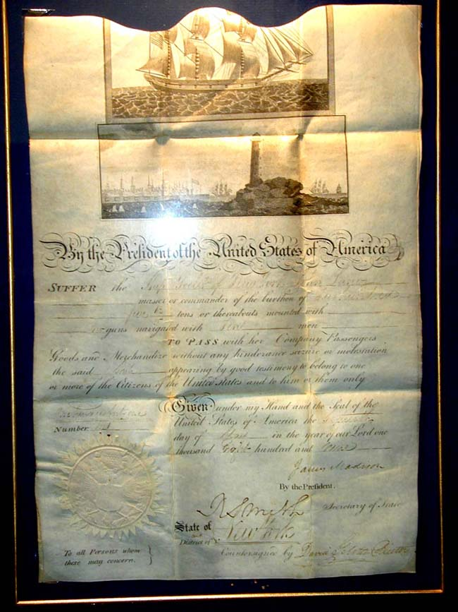 click to view larger image of A Fine Early 19th Century American Ships' Meditteranean Passport Signed by President JAMES MADISON May 16, 1809