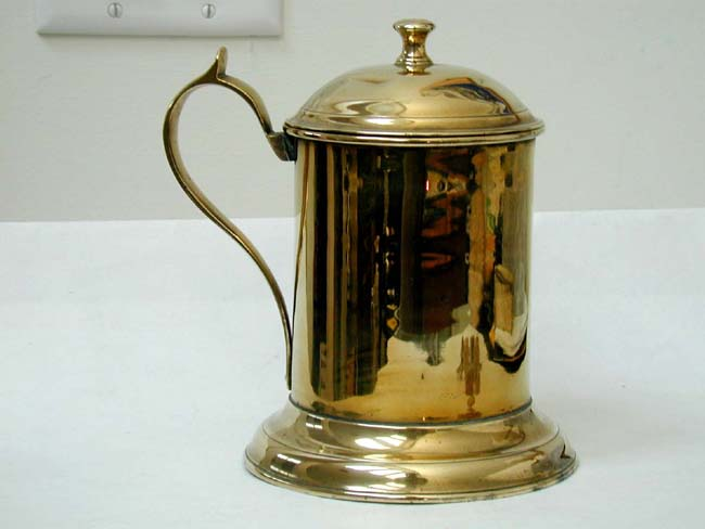 click to view larger image of A Rare 18th century English Brass Tankard with Tin Lining Circa 1770