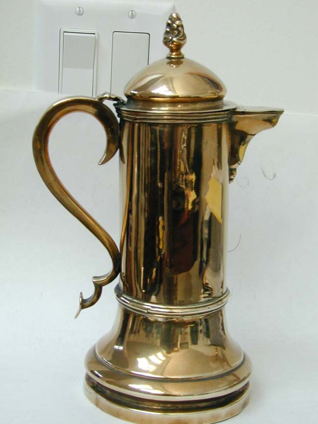click to view larger image of An 18th Century European Brass Flagon circa 1760