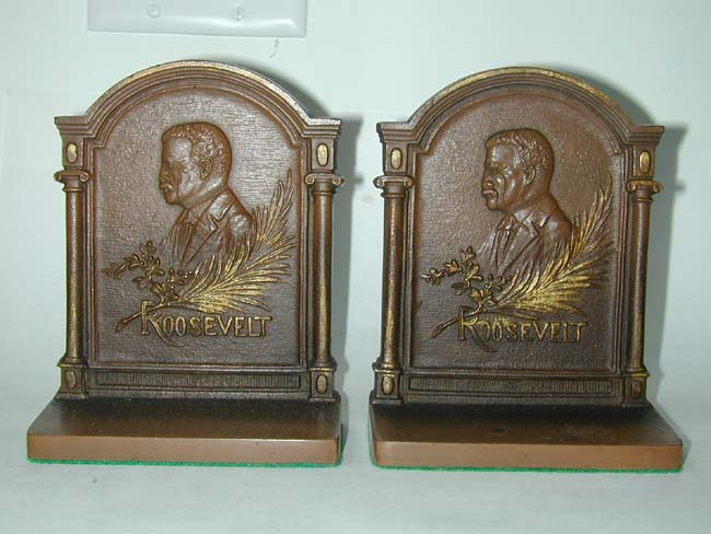 click to view larger image of A Pair of Theodore Roosevelt Antique Bookends by Bradley & Hubbard circa 1905