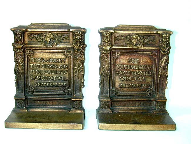 click to view larger image of A Pair of Bradley & Hubbard Antique Bookends with Quotations from Shakespeare Circa 1910