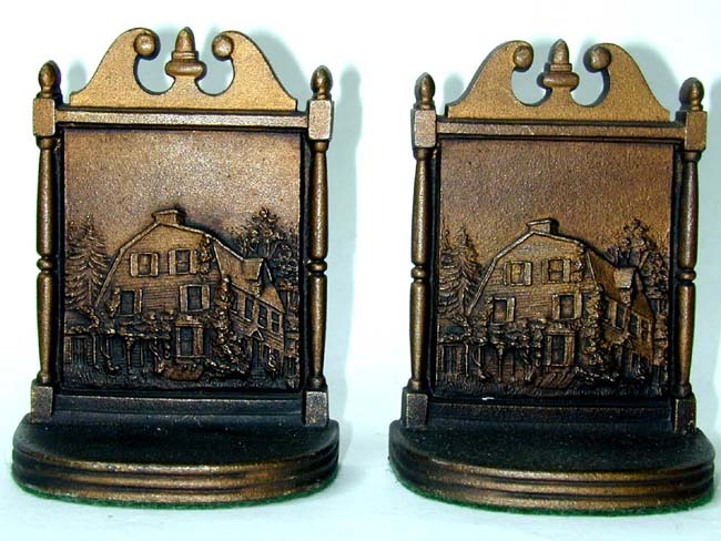 click to view larger image of A Pair of Bradley & Hubbard Antique Bookends circa 1920 Depicting a Dutch Colonial Home