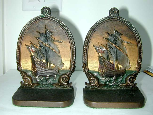 click to view larger image of A Pair of Bradley & Hubbard Antique Bookends circa 1910 Depicting a 16th century Spanish Galleon