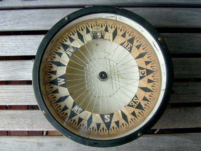 click to view larger image of A circa 1880-1900 Ships Compass by