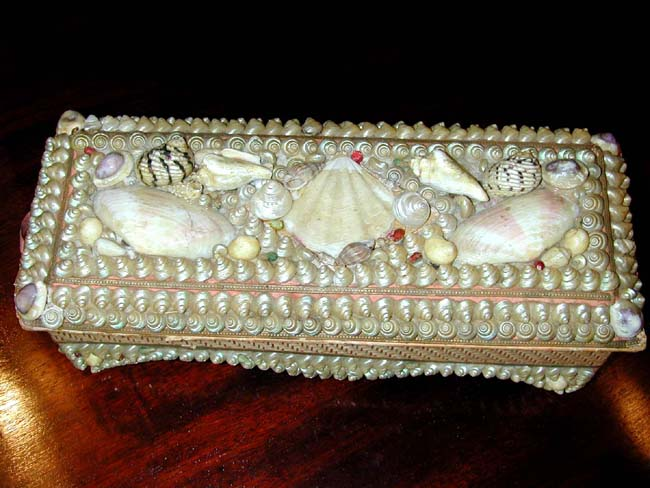 click to view larger image of A Victorian Shellwork Ladies Glove Box circa 1895