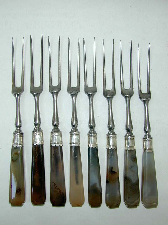 click to view larger image of A fine Set of 8 Silver Mounted Two Prong Forks and 8 Matching Knives All with Agate Handles circa 1750.