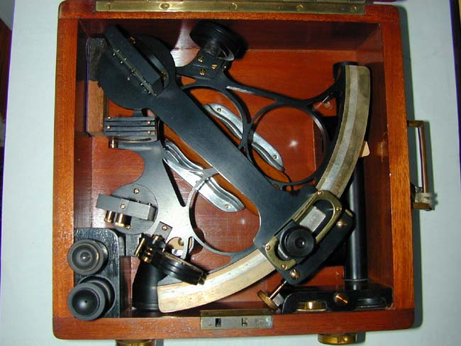 click to view larger image of A Fine Cased Mariner's Sextant Signed