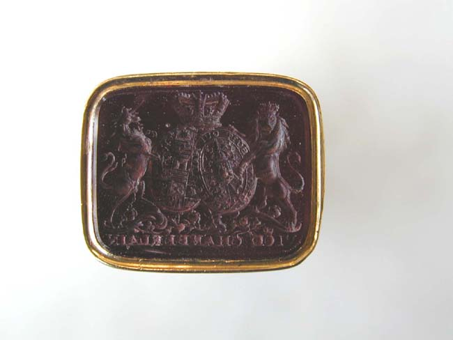 click to view larger image of A RARE Gold Mounted Ivory Desk Seal Owned and Used by the Vice Chamberlain of England under King William IV circa 1830.