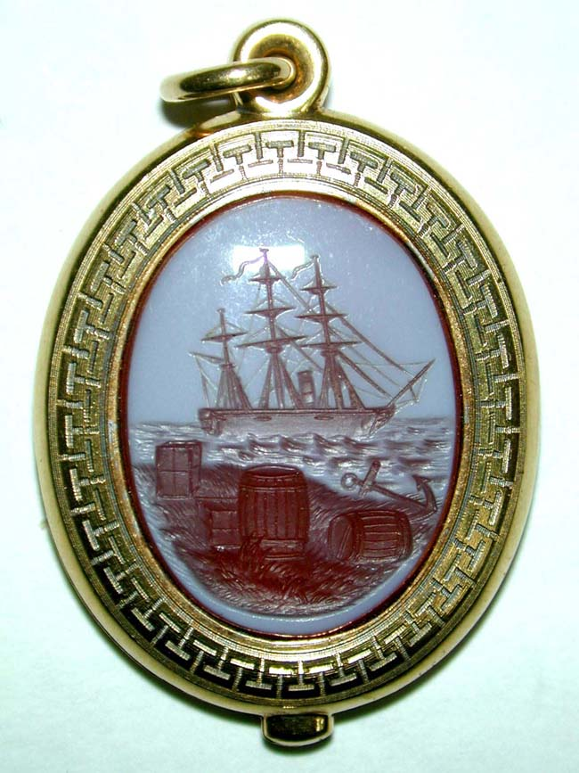 click to view larger image of A Fine 19th century English Gold Locket with Beautiful Carved Intaglio of a Ship circa 1870