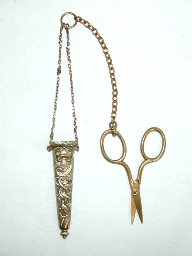 click to view larger image of An Antique Victorian 14 k Gold Scissors, Gold Chain and Gilt Silver Case circa 1880