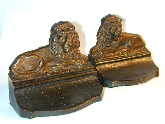 click to view larger image of A Pair An Antique Lion Bookends by BRADLEY & HUBBARD circa 1900