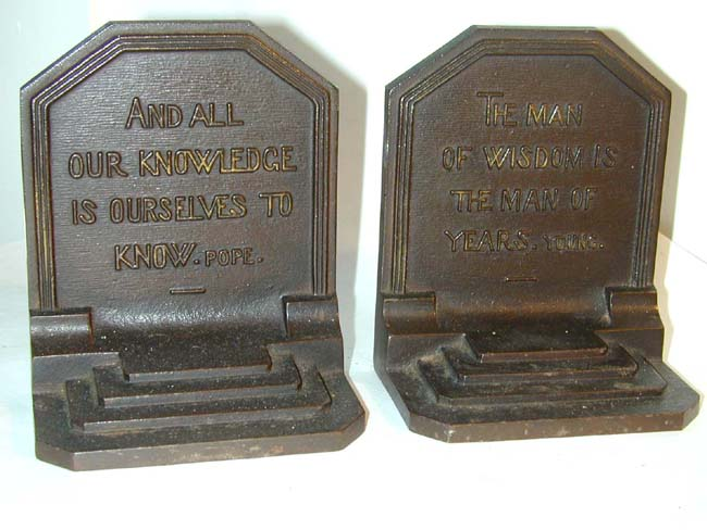 click to view larger image of A Pair of Antique Bookends by Bradley & Hubbard Featuring Quotes by Pope and Young circa 1920