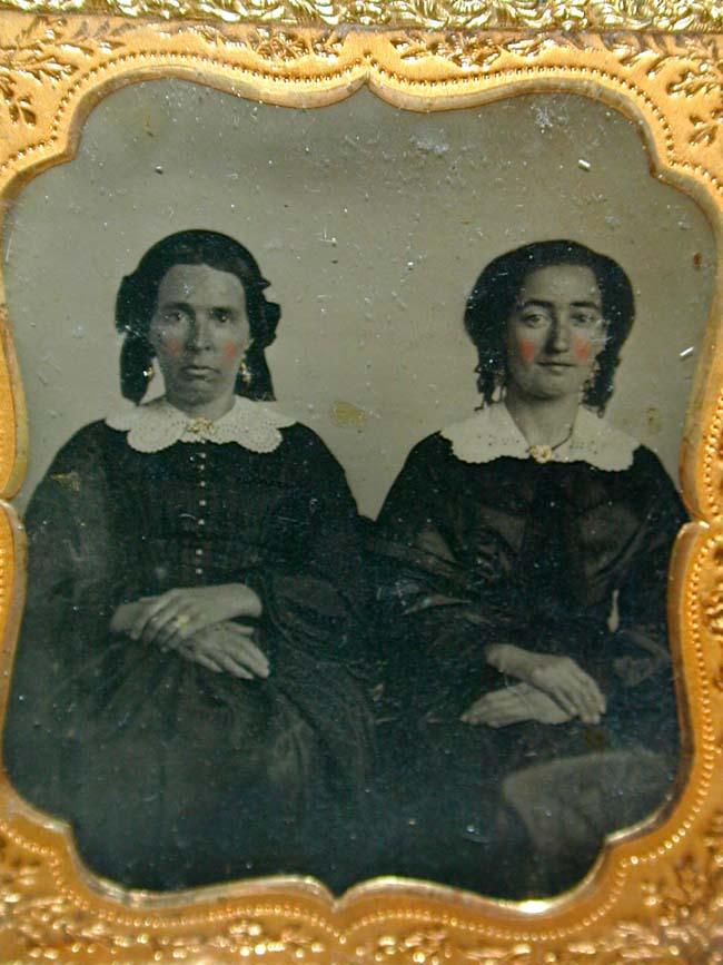 click to view larger image of A Mid 19th century Ambrotype of Two Women, possibly sisters
