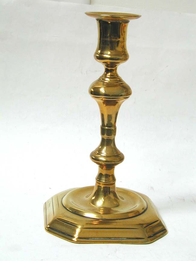 click to view larger image of A Single 18th century Brass Candlestick circa 1750 with stepped Octagonal Base.