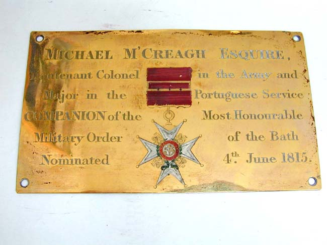 click to view larger image of A Rare and Historic Westminster Abbey Stall Plate of Lt. Col. Michael McCreagh, Companion of the Military Order of the Bath, Nominated June 4, 1815.