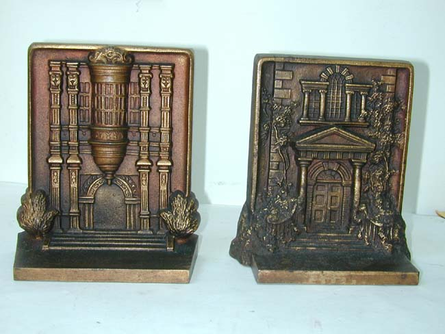 click to view larger image of A Fine Pair of Bradley & Hubbard Antique Bookends depicting Mt. Pleasant and Bramshill, circa 1920