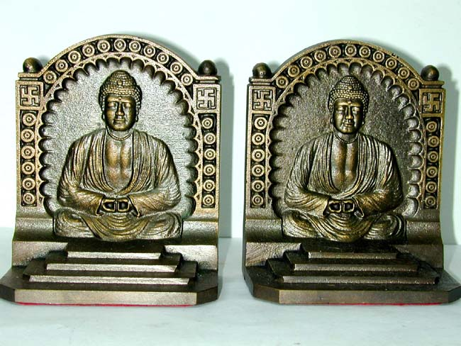 click to view larger image of A Pair of Antique Bookends by Bradley & Hubbard depicting Budha circa 1925