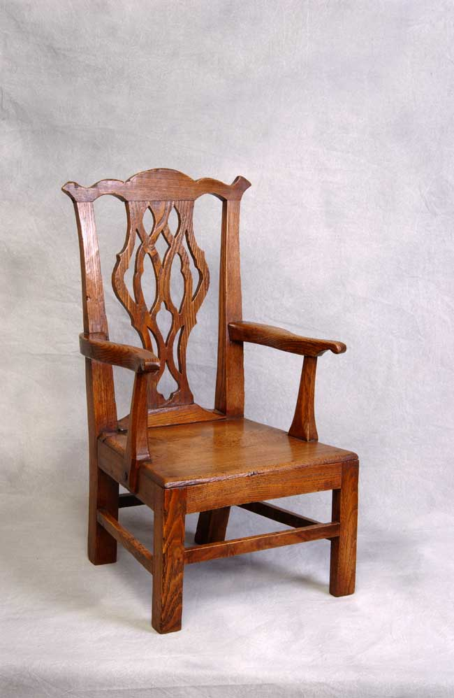 click to view larger image of English Chippendale Style Ashwood Child's Arcmchair circa 1790