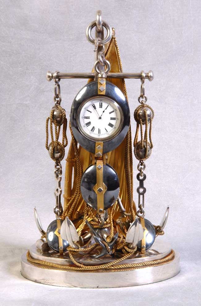 click to view larger image of English Nautical Motif Desk Clock circa 1890