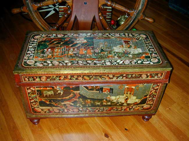 click to view larger image of A Magnificent Early 19th Century Painted China Trade Trunk Circa 1830