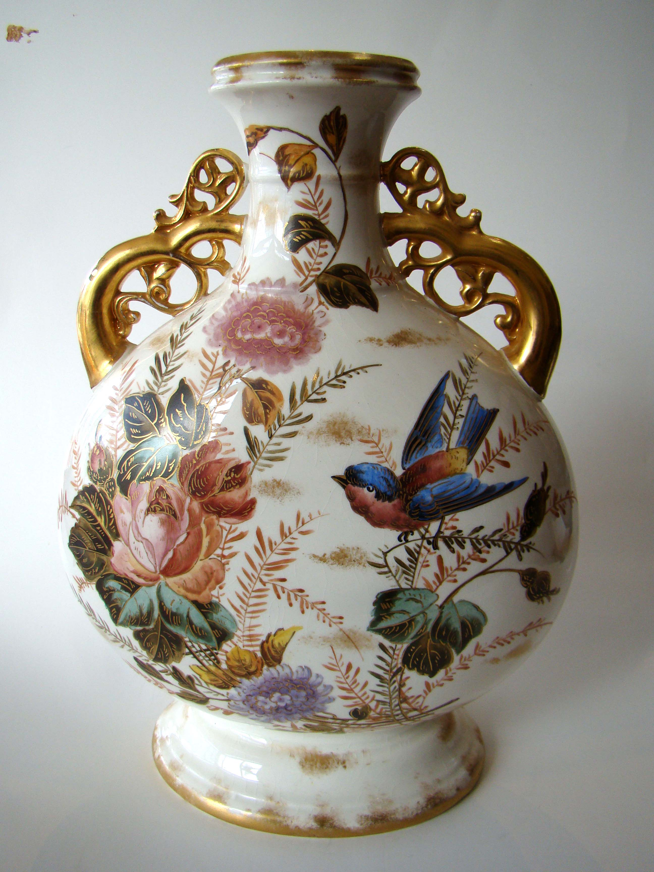 click to view detailed description of A magnificent hand painted vintage two-handled vase circa 1880-1900