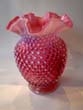 click to view detailed description of A vintage cranberry glass hobnail pattern 8