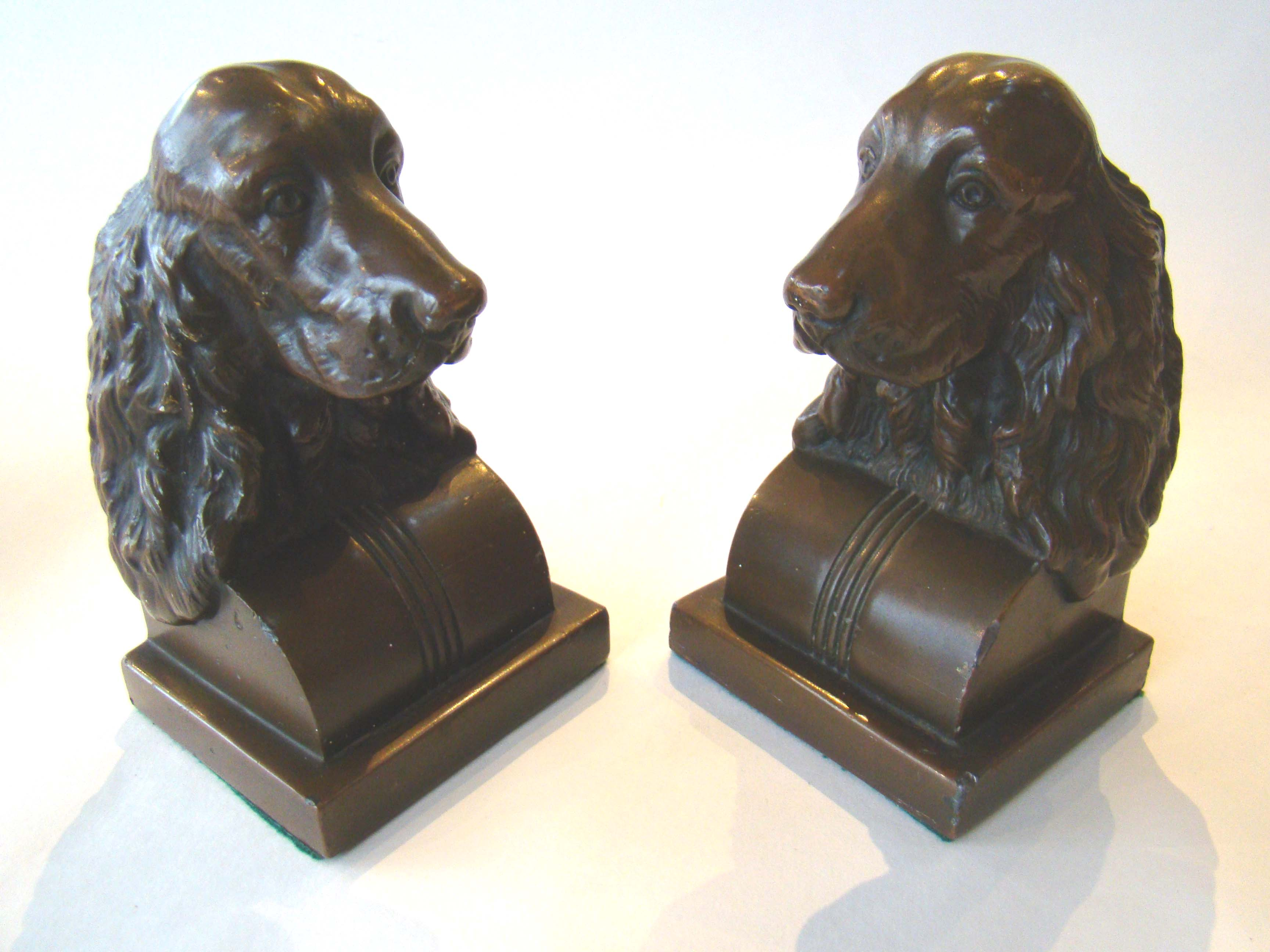 click to view detailed description of A pair of vintage Spaniel bookends by Jennings Brothers circa 1935