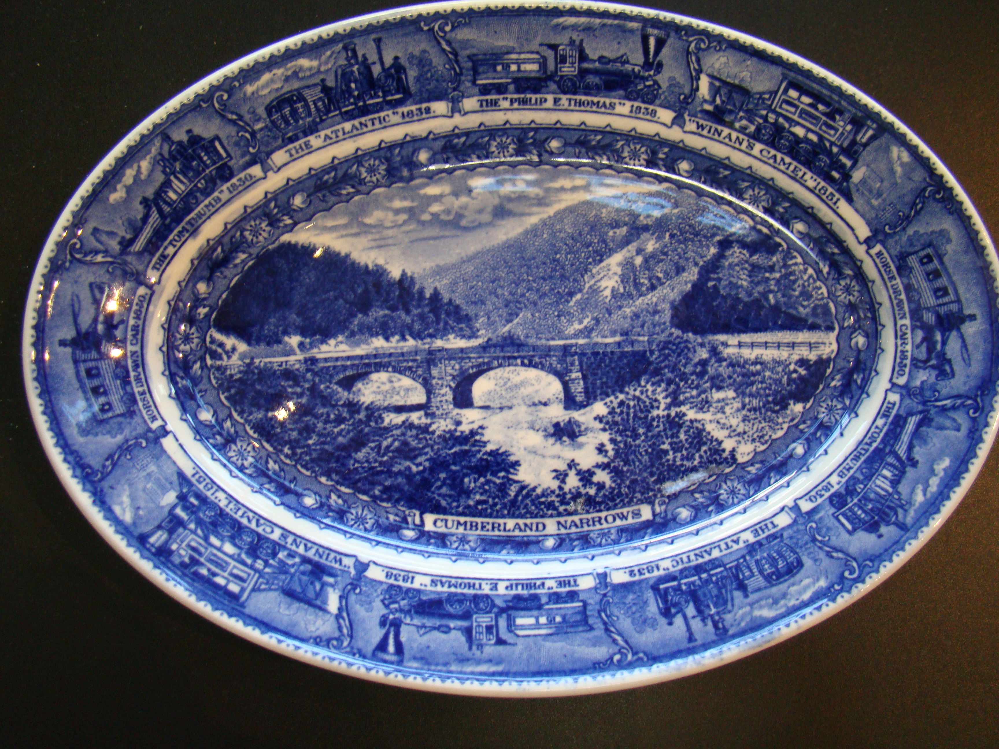click to view detailed description of A fine and rare oval serving dish from the Baltimore & Ohio Railroad circa 1900 made by Lambertons China.