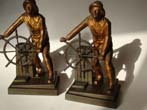 click to view detailed description of A pair of Gloucester Fisherman Memorial bookends by Jennings Brothers of Bridgeport, CT., circa 1929