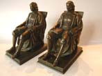 click to view detailed description of A fine pair of JOHN HARVARD bookends by Jennings Brothers of Bridgeport, CT., circa 1928