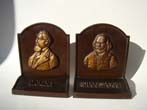 click to view detailed description of DICKENS & SHAKESPEARE bookends by Bradley & Hubbard circa 1926