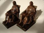 click to view detailed description of A loverly pair of chocolate bronze finished JOHN HARVARD bookends by Jennings Brothers circa 1920