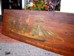 click to view detailed description of A hand painted panel depicting the British four-masted ship