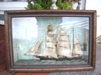 click to view detailed description of A 19th century Diorama of a three-masted ship circa 1860-1880