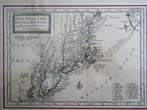 click to view detailed description of A Map of New England, New York, New Jersey & Pennsylvania by Hermann Moll and published in 1708
