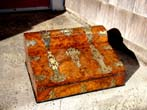 click to view detailed description of An English Victorian brass mounted burl walnut writing box circa 1870