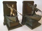 click to view detailed description of An early pair of New Bedford Whaling Monument bookends made by Jennings Brothers circa 1925